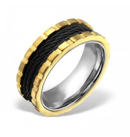 Ring Black & Gold  316L  Chirurgisch Roestvrij staal