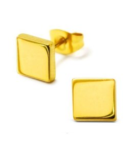 Oorstekers Edelstaal Square Gold Plated