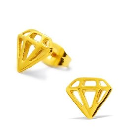 Oorstekers Edelstaal Diamond Gold Plated