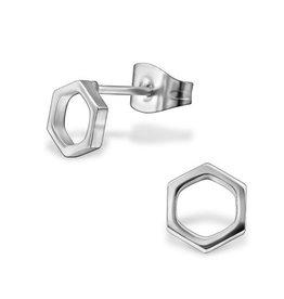 Oorstekers Edelstaal Hexagon - 316L