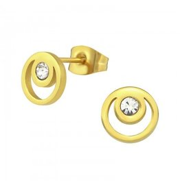 Oorstekers Edelstaal Circle Gold Plated- 316L