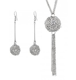 PJ Set Wire Ball Ketting en Oorbellen Silver