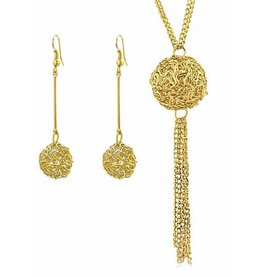 PJ Set Wire Ball Ketting en Oorbellen Gold