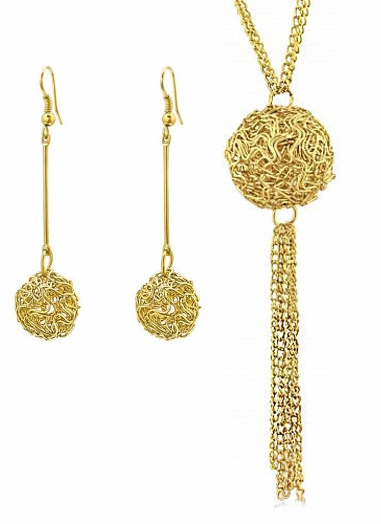 PJ Set Wire Ball Ketting en Oorbellen Gold