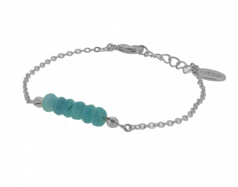 OZOM Armbandje Verzilverd met Lichtblauwe Jade