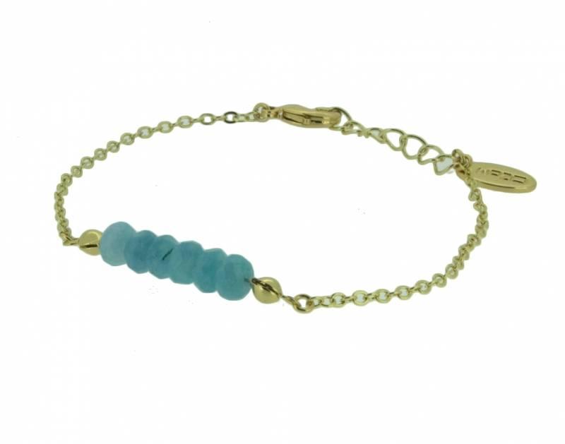 OZOM Armbandje Verguld met Lichtblauwe Jade