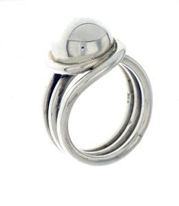 "Zilveren draadring ""Button"" - 925 Sterling Zilver"