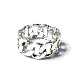 Zilveren Brede Ring Gourmet schakels - 925 Sterling Zilver