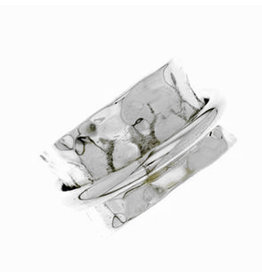 Zilveren Brede Gehamerde ring - 925 Sterling Zilver