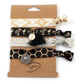 Haarelastiekjes / Armbandjes Zwart Grijs Beige