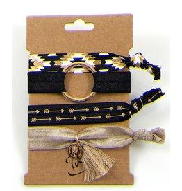 Haarelastiekjes / Armbandjes Zwart Beige
