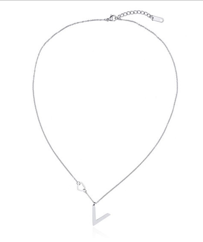 Ketting Stainless Steel Heart & V - Shiny Zilver