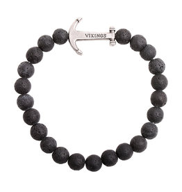 Natural Stones Armband Vikings - Black Lava