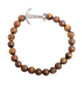Natural Stones Armband Vikings - Brown Tijgeroog