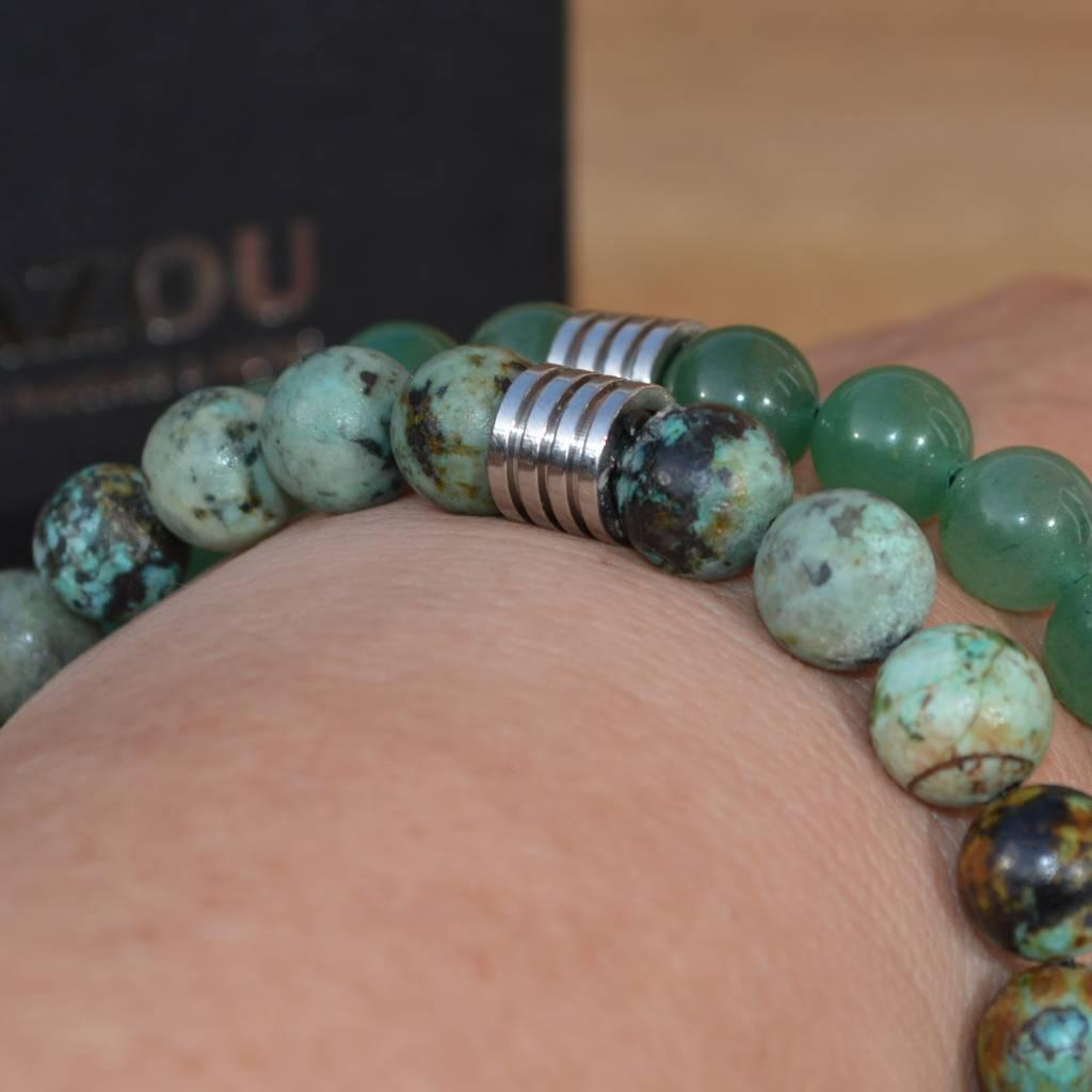 Sazou Jewels Armband Natural Stones Afrikaans Turquoise 8431