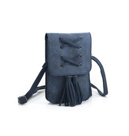 Heup,- Cross BodyBag Blue met 2 kwasten