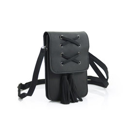 Heup,- Crossbody Bag black met 2 kwasten