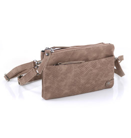 Heup,  Cross BodyBag  - Mud Suede Look met Snake