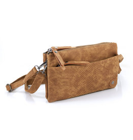 Heup, Cross BodyBag - Camel Suede Look met Snake