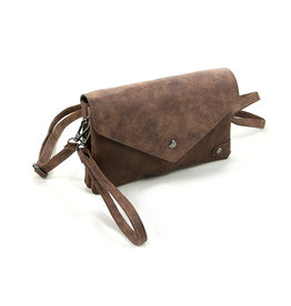 Heup,- Cross BodyBag, Clutch Donker Camel