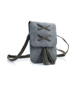 Heup,- Cross BodyBag Grey  met 2 kwasten