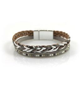 Armband Metallic Shine Zilver met magneetsluiting