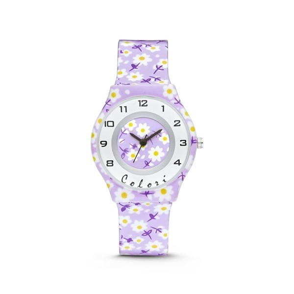 Colori Kinderhorloge 34MM Purple Flowers 3ATM