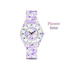 Colori Kinderhorloge 34MM Purple Flowers 3ATM