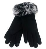 Dames Handschoenen Fake Fur Black-Grey