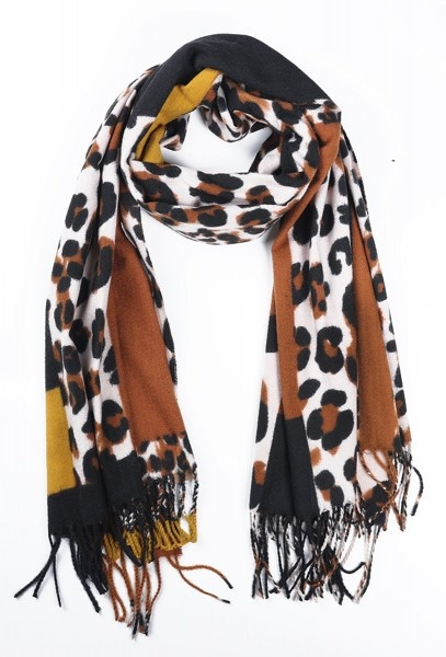Sjaal Soft Squares - Leopard Brown