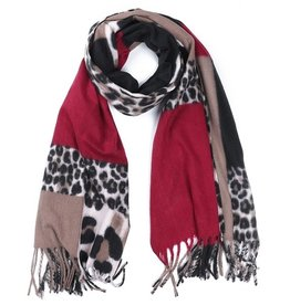 Sjaal Soft Squares - Leopard Brown - Red