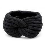 Hoofdband / Oorwarmers Zwart - met knoop