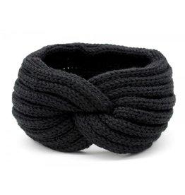 Hoofdband / Oorwarmers  Zwart met knoop