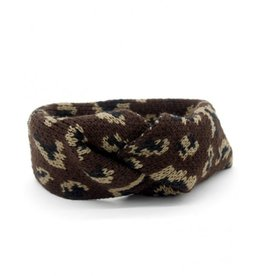 Hoofdband / Oorwarmers Leopard Dark Brown