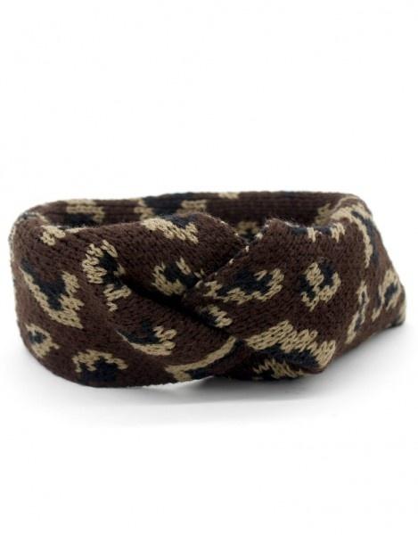 Hoofdband / Oorwarmers Leopard Dark Brown