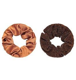 Scrunchie COGNAC-BROWN -set van 2