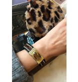 Armband Leopard Stone bruingoud - Stainless Steel