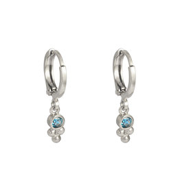 Sazou Jewels Oorbellen Creolen Sparkle Blue