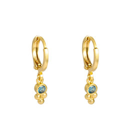 Sazou Jewels Oorbellen Creolen Sparkle Blue Gold Plated