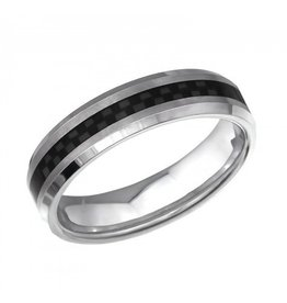 "Ring  ""Stripe"" Black & Silver Titanium"