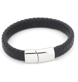 Sazou Jewels Armband Black * Leer * Stainless Steel