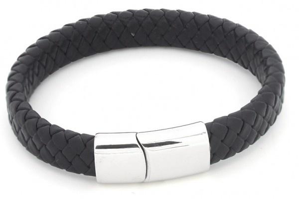 Sazou Jewels Zwart Leren Armband met Stainless  Steel Slot