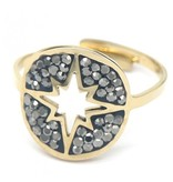 """Verstelbare Ring """"Star"""" Stainless Steel Gold Plated"""