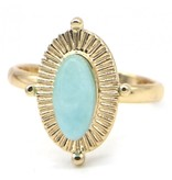 Bijoux ring Gold Plated met ovaal turquoise steen