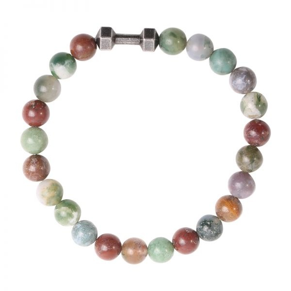 Sazou Jewels Armband Natural Stones Jaspis 8 mm met Dumbbell