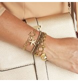 Stainless Steel Gold Plated Schakel Armband met Starfish bedel