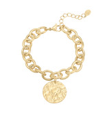 Stainless Steel Gold Plated Schakel Armband met Shell