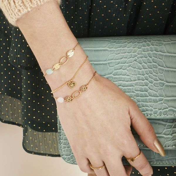 Stainless Steel Gold Plated Armband met natuursteentje