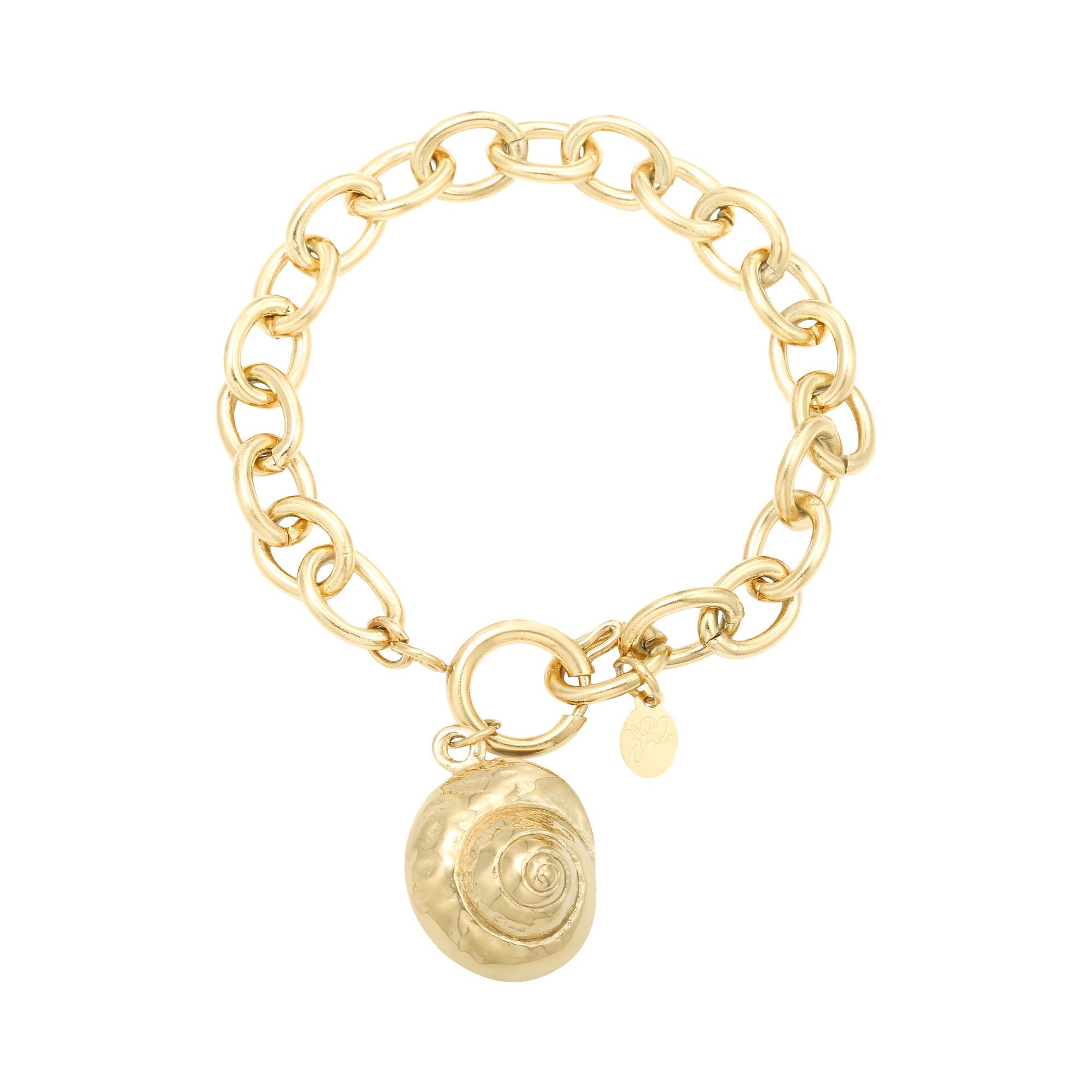 Stainless Steel Gold Plated Schakel Armband met Schelp bedel