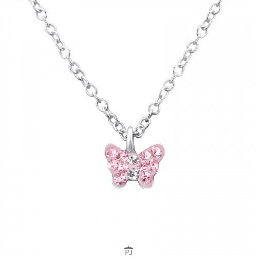 Ketting met vlinder bedel met roze en witte kristallen 925 Sterling Zilver